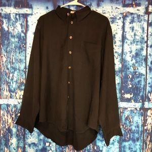 4319714585 Cypress Grove sz L black button front shirt silk